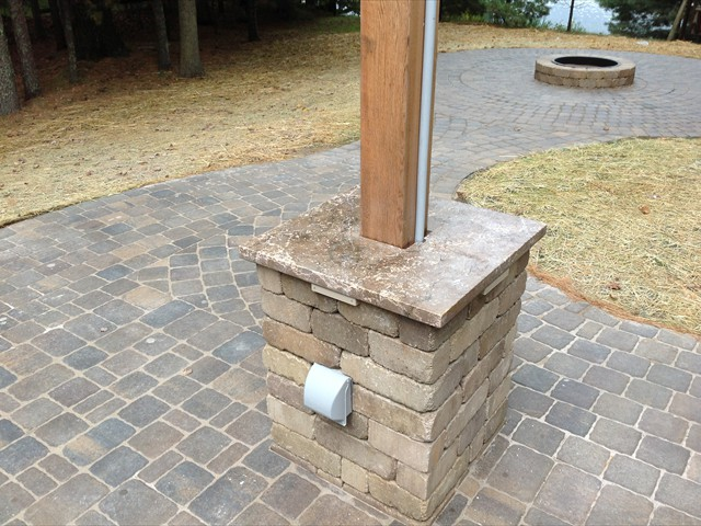 Lake House:  pillar for power outlets and light post