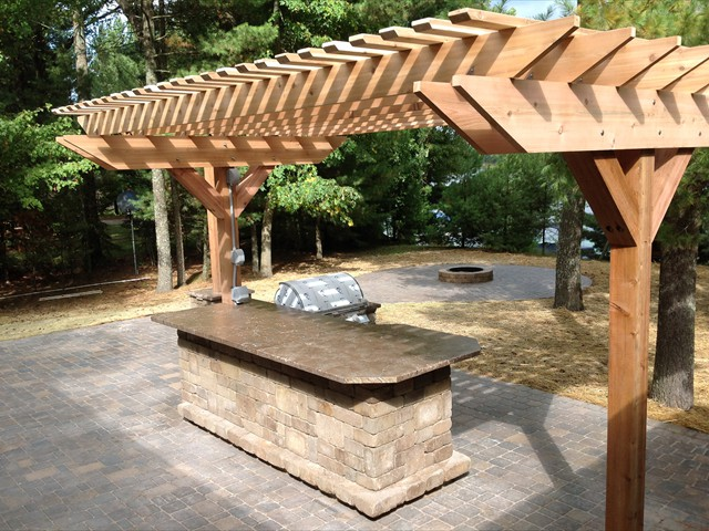 Pergola - alternate angle of outdoor bar/kitchen and pergola