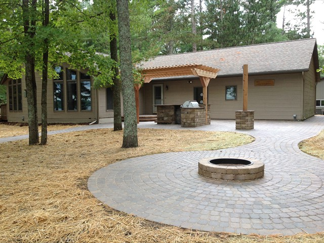 Lake House - after installation of fire pit and path