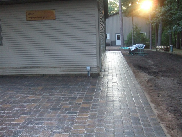 Lake House (after installation of new pavers around garage and patio)